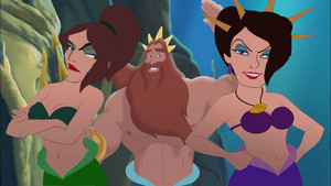 King Triton with his sisters, Ursula and Morgana