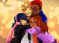 Marinette, Adrien, Nino and Alya