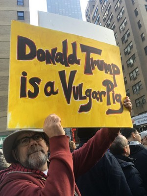 Matt Hall at the NY Women' March, 01/21/2017