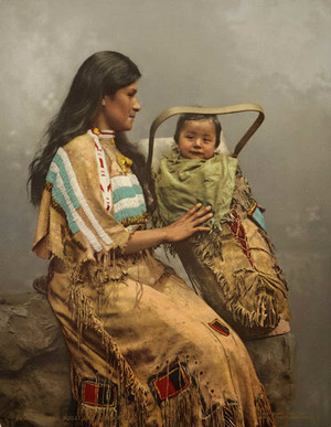Ojibwe woman and child (Colored)