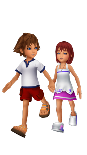 Sora and Kairi Young Childhood Friends