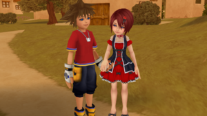 Sora and Kairi in KH1 Destiny Island Lovely Date..