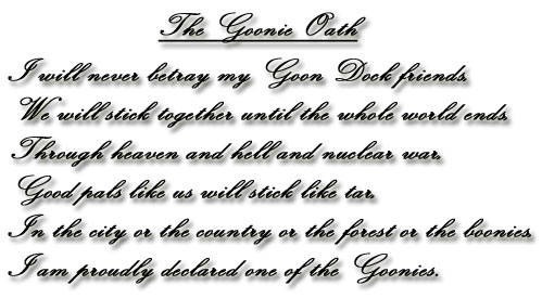 The Goonies দেওয়ালপত্র entitled The Goonie Oath