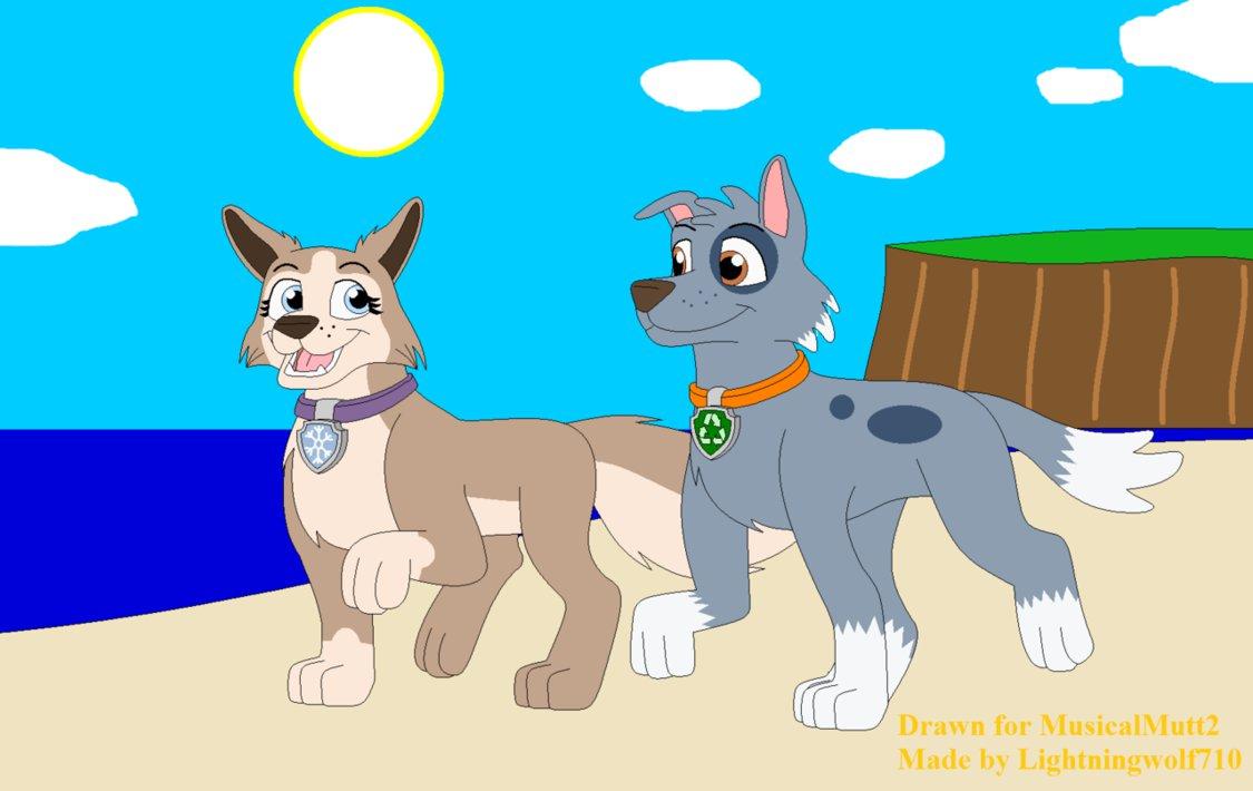Gift Rocky And Tundra S Beach Walk By Lightningwolf710 Paw Patrol
