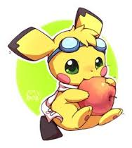 Pikachu eats an mela, apple