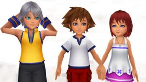 sora  riku and kairi  hearts of children