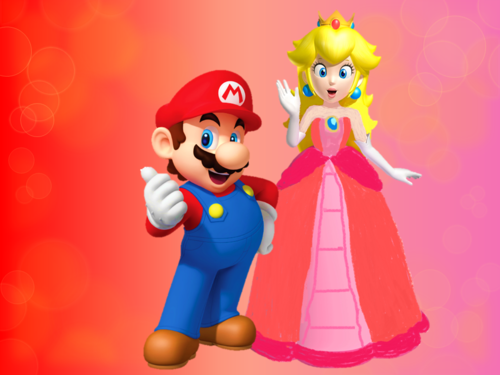 Mario and Peach wallpaper entitled  mario and peach in love wallpaper