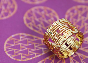 18k goud Ring with Double Happiness motifs Wedding Rings 3D Custom Jewelry Vulcan Jewelry