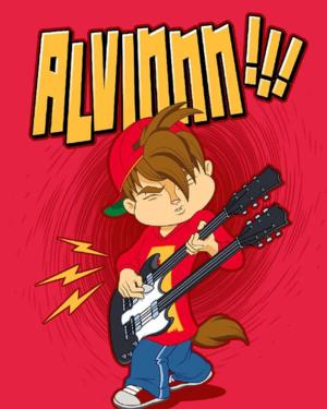 Alvin with a đàn ghi ta, guitar
