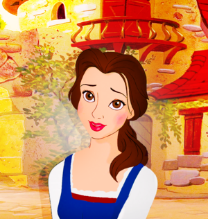 Animated Belle in live action blue dress