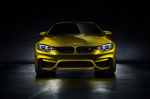 bmw M4 coupe, cupê, coupé Concept 2013 (Golden) Front View