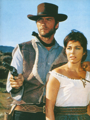 Clint Eastwood and Marianne Koch in A Fistful of Dollars 1964