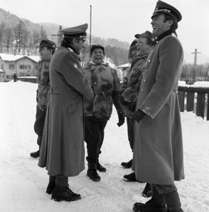 Clint Eastwood and Richard burton on the set of Where Eagles Dare (1968) in Austria