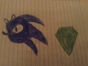 Drawing of sonic and the chaos Esmeralda
