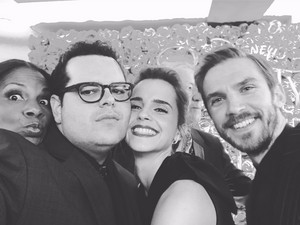 Emma with her BATB co-stars,Audra McDonald,Josh Gad and Dan Stevens