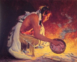 Indian by Firelight by Eanger Irving Couse (1866-1936)