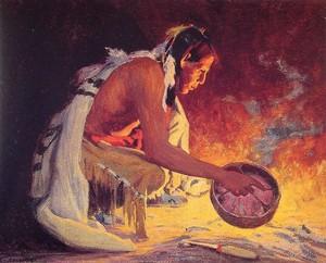 Indian bởi Firelight bởi Eanger Irving Couse (1866-1936)