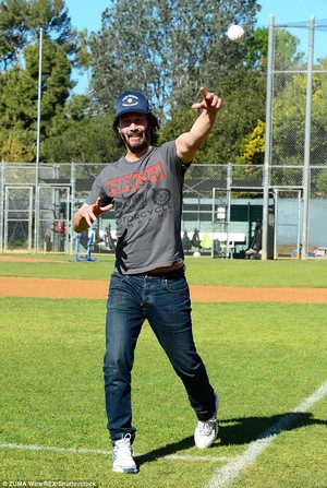 Keanu Throws First Pitch @ PONY in LA