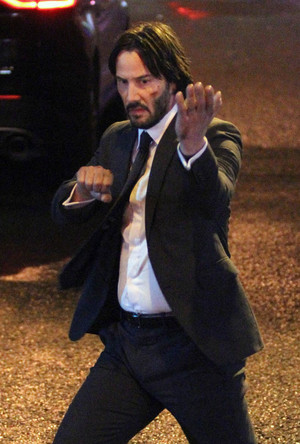 Keanu filming John Wick: Chapter 2