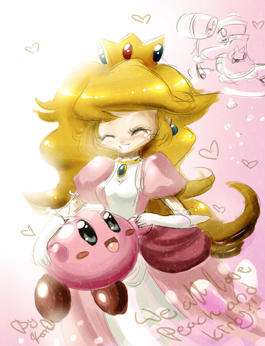 Video Games wallpaper entitled Kirby and Princess Peach