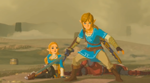 Link and Princess Zelda Breath of the Wild 2017 Screenshot.