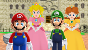 Mario x perzik and Luigi x madeliefje, daisy Together.