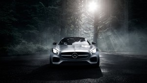 Mercedes-Benz AMG GT S 2016 (Silver, Wood, Night, Front View)