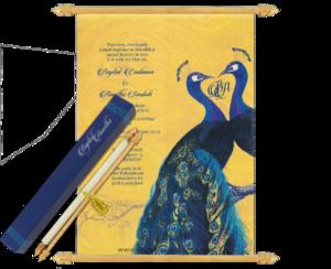 Peacock wedding card