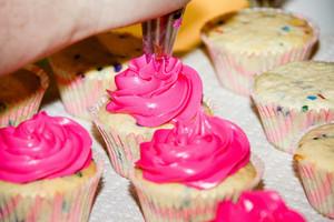 rosado, rosa cupcakes