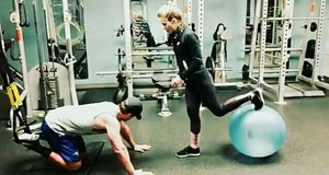 Stephen and Emily working out