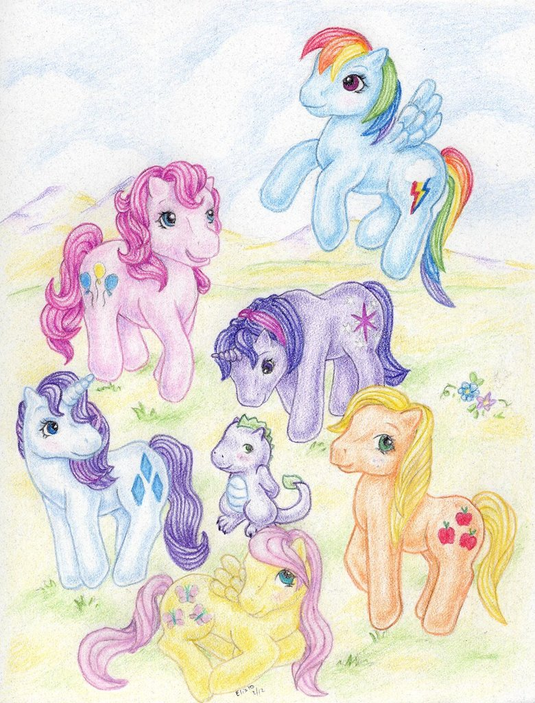 The Mane 6 in G1 packaging art style
