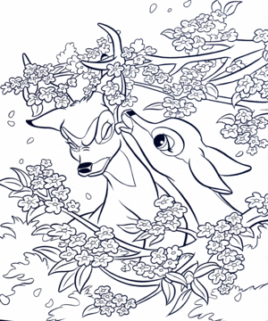 Walt Disney Coloring Pages - Bambi & Faline