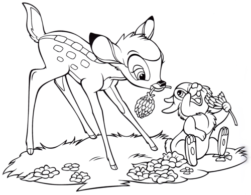 walt disney characters wallpaper called walt disney coloring pages bambi thumper