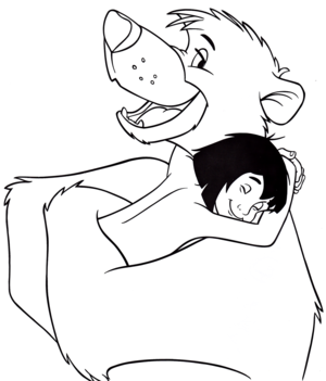Walt Disney Coloring Pages – Mowgli & Baloo