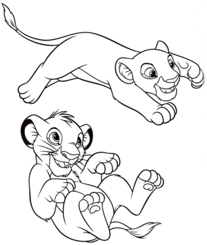 Walt 디즈니 Coloring Pages – Nala & Simba