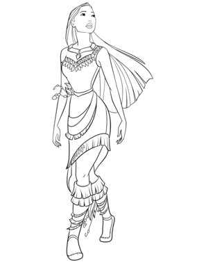 Walt 迪士尼 Coloring Pages - Pocahontas