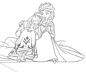 Walt 迪士尼 Coloring Pages – Princess Anna & 皇后乐队 Elsa