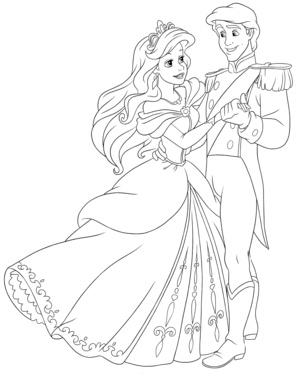 Walt 迪士尼 Coloring Pages – Princess Ariel & Prince Eric