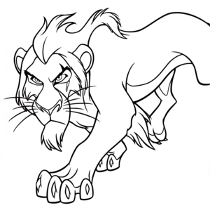 Walt 迪士尼 Coloring Pages – Scar