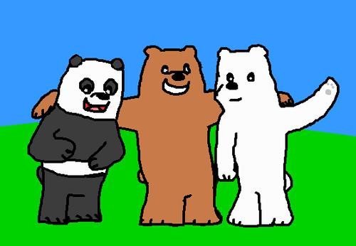 We Bare Bears karatasi la kupamba ukuta titled We Bare Bears 2 Grizzly Panda and Ice kubeba