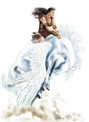 Xena rides on an Beautiful Pegasus