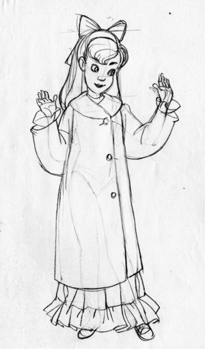 Young Anastasia character designs for Anastasia