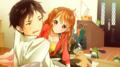 anime couple romance lying down - anime photo