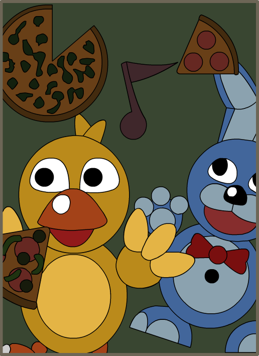 chica and bonnie poster recreation fnaf3 door gabrielartdesigns d8twc4o