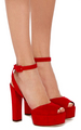 large giuseppe zanotti red lavinia suede sandals  2 - womens-shoes photo
