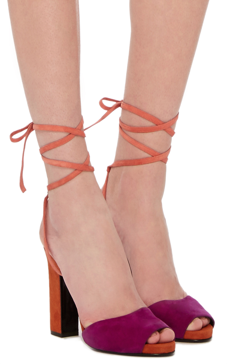 large pierre hardy orange loulou suede sandals