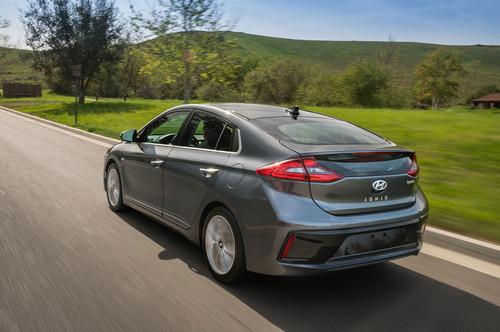 Hyundai Ioniq Hybrid wallpaper titled 2017 Hyundai Ioniq Hybrid rear three quarter in motion