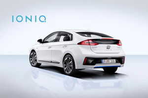 Hyundai Ioniq Hybrid rear three quarter