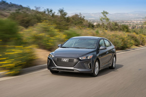 2017 Hyundai Ioniq Hybrid front three quarter in motion