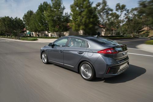 Hyundai Ioniq Hybrid wallpaper entitled 2017 Hyundai Ioniq Hybrid rear three quarter in motion